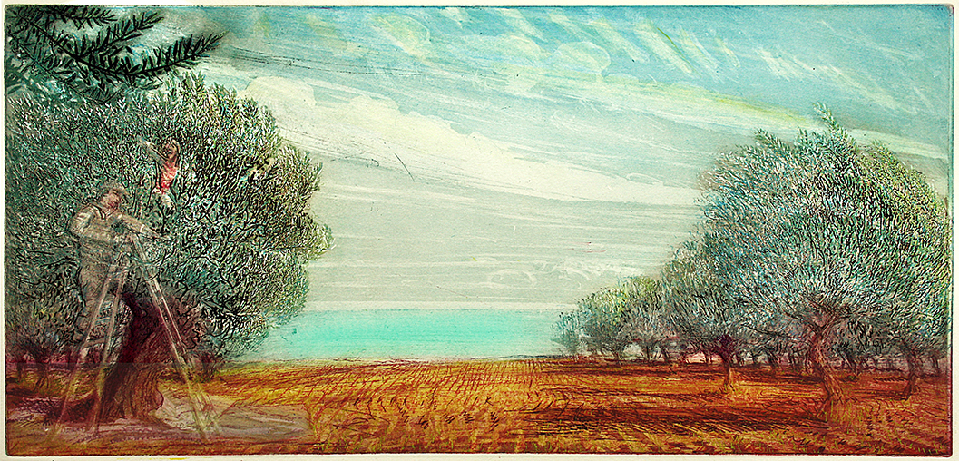 'OLIVE PICKERS with GREEN MEDITERRANEAN SEA, DECEMBER'